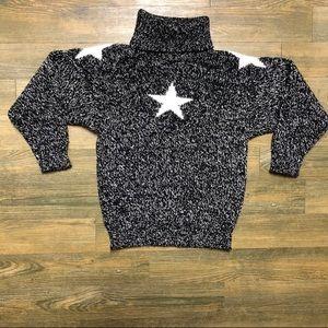 VTG Star 80s Black White Chunky Turtleneck S